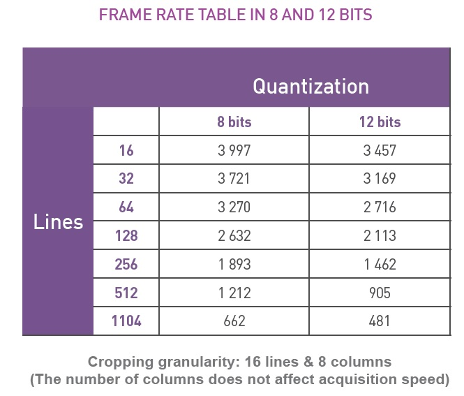 FRAME RATE TABLE IN 8 AND 12 BITS