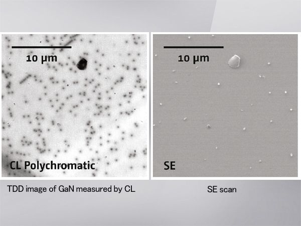 TDD image of GaN measured by CL (left) and SE scan (right)